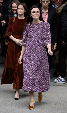 Keira Knightley looked pretty in purple as she made her way to Chanel's fashion show.