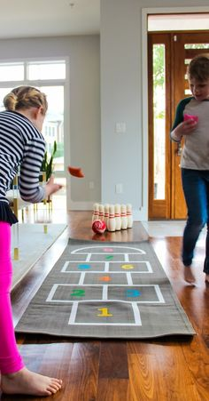 Staying Active Indoors with games like hopscotch, bowling and tic tac toe on blog.landofnod.com