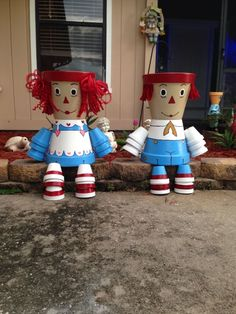 Terra cotta pot crafts Raggedy Ann and Andy by Donna Armitage