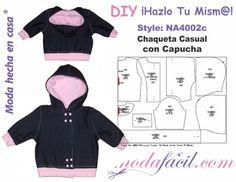 Descarga gratis los Moldes de Chaqueta Casual con Capucha para bebes disponibles en 12 tallas listas para cortar