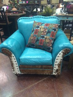 ༻✿༺ ❤️ ༻✿༺ Leather Turquoise & Cowhide Club Chair ༻✿༺ ❤️ ༻✿༺