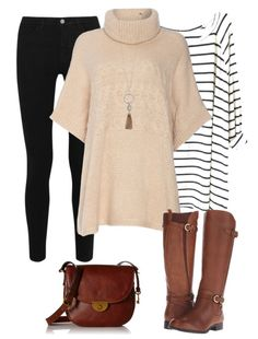Poncho outfit idea for fall - pair a cream colored poncho with a black and white striped shirt, black denim, brown riding boots and a brown saddle bag purse.