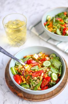 Couscous salad with cucumber - Tasty and Simple - Couscous salad with cucumber. A delicious salad with lettuce, tomatoes, cucumber, couscous, feta an - Lunch Recipes, Salad Recipes, Vegetarian Recipes, Healthy Recipes, Healthy Food, Vegan For A Week, Superfood, Feta, Curry