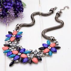Hot Fashion New Design Retro Style Colorful Rhinestone Flower Choker Necklace $1.69
