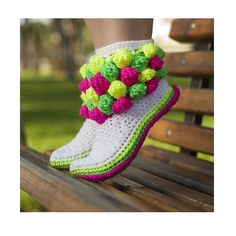 Bubble Boots for the home Neon Colors Bubbles Crochet Slippers
