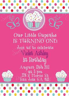 Sweet Cupcake Birthday Invitation Custom by SweetBeeDesignShoppe