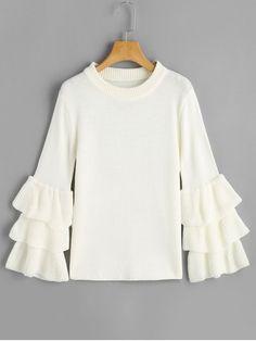 Up to 70% OFF! Flouncy Layered Sleeve Pullover Sweater. Zaful,zaful.com,zaful online shopping, sweaters&cardigans, sweater,sweaters,cardigans,choker sweater,chokers,chunky sweater,chunky,cardigans for women, knit, knitted, knitting, knitwear, cardigan, cardigan outfit, women tops, women outfits, blouses, women fashion,winter outfits,winter fashion,fall,fall outfits,fall fashion,autumn outfits,autumn fashion, halloween costumes,halloween,halloween outfits,halloween tops. @zaful Extra 10% OFF…
