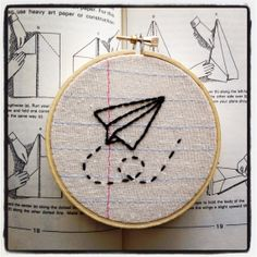 Paper Airplane  Four Inch Embroidery Hoop Wall by MontclairMade, $16.00