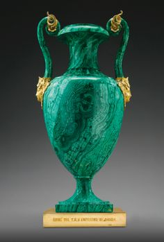 Russian gilt-bronze mounted malachite vase with applied Bacchus masks on the handles, presented as a gift by Czar Nicholas I. Made by the Imperial Lapidary Workshops - Peterhof or Ekaterinburg, (Sotheby's) Milan Furniture, Antique Furniture, Furniture Design, Decoration, Art Decor, Objets Antiques, Vases, Bronze, Glass Art