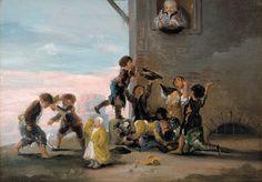 """Francisco de Goya: """"Niños disputándose unas castañas"""". Oil on canvas, 30 x 43,5 cm, 1782-1785. Fundación Fusara, Madrid, Spain"""