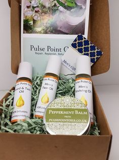 Men's giftbox-Therapeutic Treatment oils - Pulse Point Oils The perfect valentine gift x #pulsepointoils #naturalskincare #malegrooming #mensskincare #mensfacial #mensfaceoil #shaveoil #beardoil #tashoil #cologne #gymbagessential #valentinesday #hisvalentinegift #dadgift #fathersdaygift #giftsforhim #pinpals #handmadeintheuk-hmuk #etsyshoppulsepointoils #buyonline #shoplocal #shopsmall #bossgift #readytogift