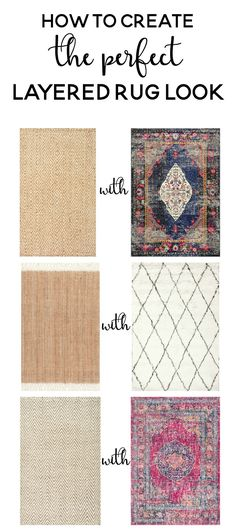 The pair in the middle is what I want for my living room. rustikal How to Create the Perfect Layered Rug Look - Woven Rug, Farmhouse Rugs, Rugs On Carpet, Livingroom Layout, Living Room Carpet, Layered Rugs, Home Decor, Layered Rugs Living Room, Cool Rugs