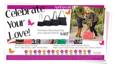 Shop online at www.homepartyrep.com/julie_telford or contact me directly to save $ on shipping!April 2014 Special; Celebrate Your Love! Purchase with one of our Home Party Reps for this Wonderful Special! #miche #michefashion #fashion #style #purses #handbags #accessories