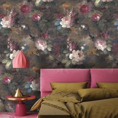 Our take on the 'Dutch Masters' moody floral look. Ava Marika is a dark, expressive floral originating from Yorkshire handpainted by a true master SHOP NOW Moody Wallpaper, Wallpaper Roll, Bedroom Wallpaper, Eclectic Wallpaper, Print Wallpaper, Black Wallpaper, Magnolia Wallpaper, Wallpaper Manufacturers, Design Repeats