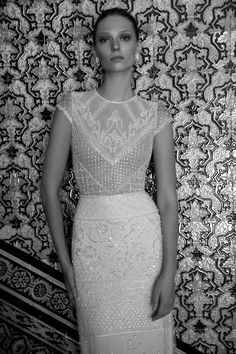 A fully beaded vintage-inspired wedding dress with a high neck. A nude illusion bodice featuring cup sleeves, a keyhole open back and sweep train. Vintage Inspired Wedding Dresses, Beautiful Wedding Gowns, White Wedding Dresses, Designer Wedding Dresses, Bridal Dresses, Collection 2017, Bridal Collection, Dress Collection, Wendy Dress