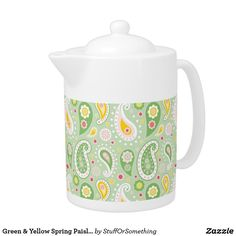 Green & Yellow Spring Paisley Teapot