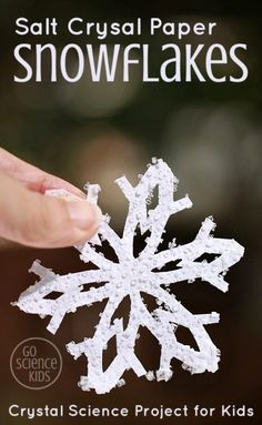 How to make beautiful Salt Crystal Snowflakes from just ordinary things you have at home like paper, salt and scissors! Winter Activities For Kids, Science Projects For Kids, Science Crafts, Winter Crafts For Kids, Science For Kids, Stem Activities, Science Experiments, Easy Science, Winter Kids