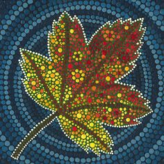 Maple Leaf Dot Painting Painting by Manny Carwile Aboriginal Dot Painting, Dot Art Painting, Rock Painting Designs, Mandala Painting, Mandala Painted Rocks, Painted Leaves, Mandala Canvas, Mandala Dots, Painting Templates