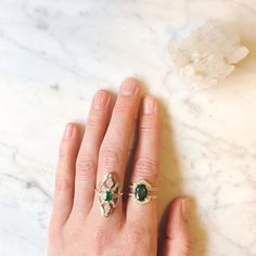 A beautiful #ringstack to celebrate the end of the working week. From the left our #emerald Sitara Ring and a bespoke #tsavorite ring that Zoe made especially to suit this elegant stone she found on her travels. For enquiries about our fine and bespoke collection email hello@zoeandmorgan.com  #diamonds #ringstack #zoeandmorgan