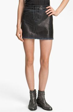 Zadig & Voltaire Oil Washed Stretch Denim Miniskirt | Nordstrom