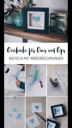 DIY gift idea with children& drawing - gift idea for grandma .- DIY Geschenkidee mit Kinderzeichnung – Geschenkidee für Oma und Opa DIY gift idea with child& drawing – make gifts with toddler – heart in the frame for grandma and grandpa idea - Grandma And Grandpa, Grandma Gifts, Diy For Kids, Crafts For Kids, Children Crafts, Diy Para A Casa, Diy Bebe, Father's Day Diy, Drawing For Kids