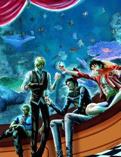 Zoro, Sanji, Law and Luffy