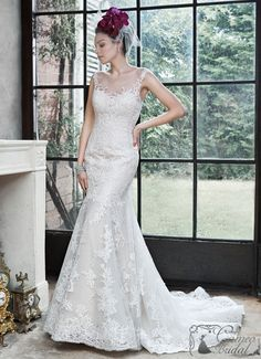 The Noelle wedding gown by Maggie Sottero is a soft fit and flare gown, constructed of delicate tulle and lace. Finished with illusion neckline, dramatic illusion back. Sheer Wedding Dress, Fit And Flare Wedding Dress, Perfect Wedding Dress, Bridal Wedding Dresses, Wedding Dress Styles, Bridesmaid Dresses, Wedding Dressses, Sottero And Midgley Wedding Dresses, Bridal Dresses Online