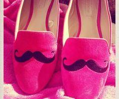 Mustache Pink Flats