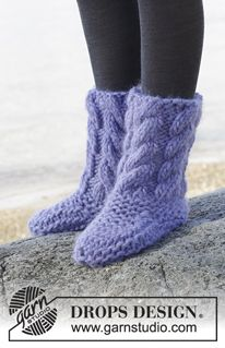 "Weekend Warrior - Knitted DROPS slippers with cables in ""Polaris"". - Free pattern by DROPS Design"