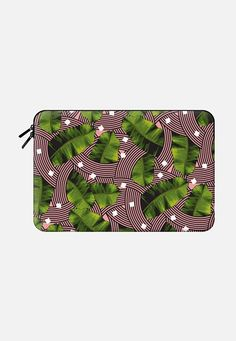Tropical Modern Palm Leaves Summer Graphic Curves Pink Laptop Case Macbook 12 sleeve by Season of Victory | Casetify