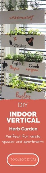 DIY Indoor Vertical Herb Garden using old flooring.  This is an upcycle or repursed scrap wood project for the DIYers in small spaces or apartments or no outdoor space. - Toolbox Divas