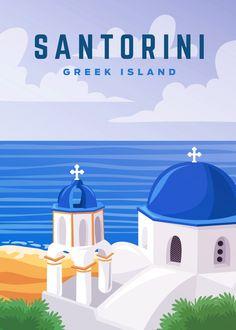 Santorini Travel, Santorini Greece, Greece Travel, Greek Cruise, Travel Book Layout, Greece Painting, Ui Design Tutorial, Vintage Travel Posters, Retro Posters