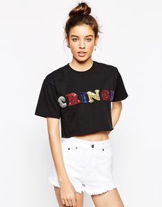Image 1 of The Ragged Priest Sequin Applique Cringe Crop T-Shirt