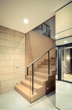 Image 14 of 33 from gallery of House Extention in Lviv / replus design bureau. Photograph by Maksim Sosnov Wood Railing, Wood Stairs, Interior Paint, Architecture, Gallery, Home Decor, Golf, Product Design, Wooden Ladders