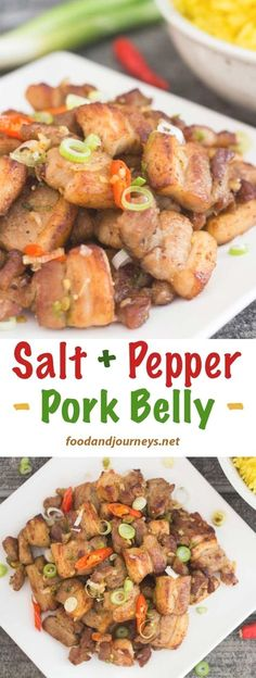 Thirty minutes Thats all the the time it takes to prepare Salt and Pepper Pork Belly A delicious and satisfying dish and NOFUSS seasoning too Pork Recipe Asian Wok Meat Recipes, Asian Recipes, Cooking Recipes, Asian Pork Belly Recipes, Korean Pork Belly, Pork Belly Recipe Pinoy, Easy Pork Recipes, Chinese Pork Belly Recipe, Easy Filipino Recipes