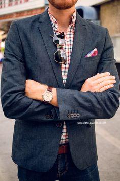 April 27, 2014. Blazer: Linen - H&M - $69Shirt:Rhodes Collar Oxford-Bonobos(c/o)Jeans:American Eagle- $29Boots: Dune - Topman - $1...