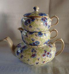 Vintage Chintz China Stacking Tea Pot Sugar Creamer by Antiquemart, $125.00