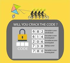 Here is very interesting crack the code puzzle to test your logical reasoning. Can you crack the code with your logic and open the lock? Puzzles And Answers, Math Logic Puzzles, Number Puzzles, Rebus Puzzles, Logic Questions, Brain Teasers With Answers, Brain Teaser Games, Brain Games, Class Games