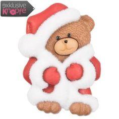 Weihnachtsknopf - Teddybär im Weihnachtsmannkostüm
