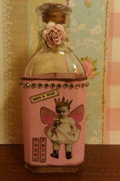 """Altered vintage bottle """"Sugar Fairy"""""""
