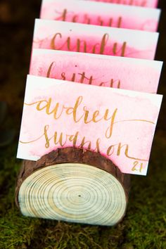 Table place cards: http://www.stylemepretty.com/2014/10/04/rustic-wedding-with-pops-of-pink/ | Photography: Haley Rynn Ringo - http://haleyringo.com/