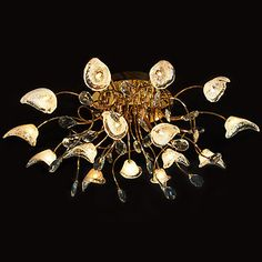 Evrosvet Contemporary 15-Light Ceiling Fixture, Gold Finish