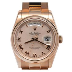 Rolex Rose Gold Day-Date President Wristwatch circa 2002   From a unique collection of vintage wrist watches at http://www.1stdibs.com/jewelry/watches/wrist-watches/