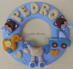 Enfeite para porta maternidade guirlanda tema brinquedos de menino