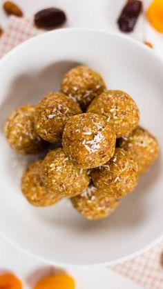 Sweet apricots taste better in energy ball form.