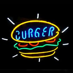 Burger Food Shop Open Neon Sign///How I love you neon signs , Real nice for my Home Bar Deco