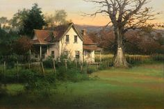 BRUCE CHEEVER TRANQUIL TIMES oil on board 18.5 x 27.5 in (46.99h x 69.85w cm) $7,500 www.trailsidegalleries.com  Turn of the Century Architecture in the Western United States has always had my attention as an artist, it really tells a story.  This painting of Mount Carmel is about a mile down the road from Maynard Dixon's home and studio on old highway 89.  It is what I call a place that is overgrown with beauty, and in my humble opinion sits in one of the most spectacular valleys in…