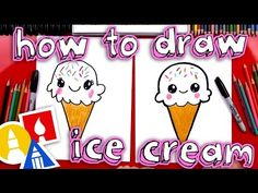 How To Draw A Cute Ice Cream Cone – Drawing Ideas and Tutorials Art For Kids Hub, Easy Art For Kids, Art Hub, Cute Drawings For Kids, Drawing Lessons For Kids, Easy Drawings, Pencil Drawings, Ice Cream Cone Drawing, Draw Ice Cream