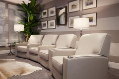 Imagine kicking back in this gorgeous home theater seating set from Gallery Furniture while you enjoy the sights and sounds of your favorite movie and TV shows! One-hundred percent top-grain leather and Made in America quality give our home theater seatin Best Home Theater System, Home Theater Setup, At Home Movie Theater, Home Theater Rooms, Home Theater Design, Home Theater Seating, Media Room Seating, Living Room Seating, Garage To Living Space