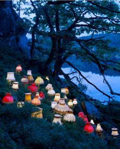 """lasrina: """" lesleegab: """" cutesy: """" by Norwegian conceptual artist Rune Guneriussen """" reminds me of the Mad Hatter's tea party """" All of the lamps that were replaced by IKEA lamps are marching home for. Land Art, Art Environnemental, Art Public, Installation Art, Art Installations, Runes, Art Inspo, Street Art, Objects"""